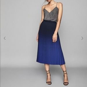 Reiss ombré blue pleated skirt cobalt